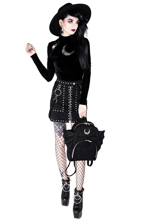 STUDDED SUEDE SKIRT, black gothic short skirt