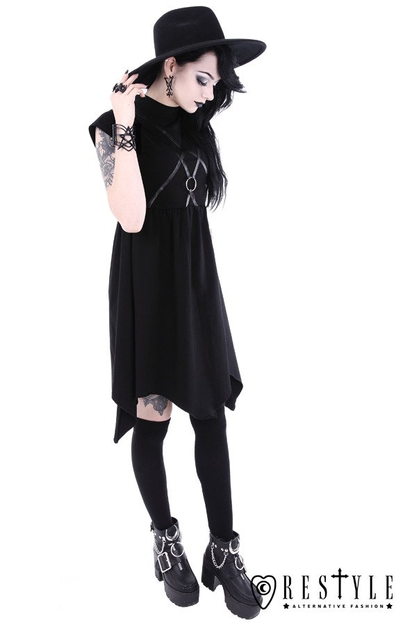 """SYGIL TUNIC"" gothic asymmetric dress, leather straps with o-ring"