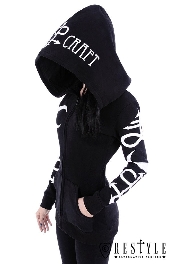 "Black occult blouse with pockets, oversized hood, witchcraft ""SYMBOL HOODIE"""