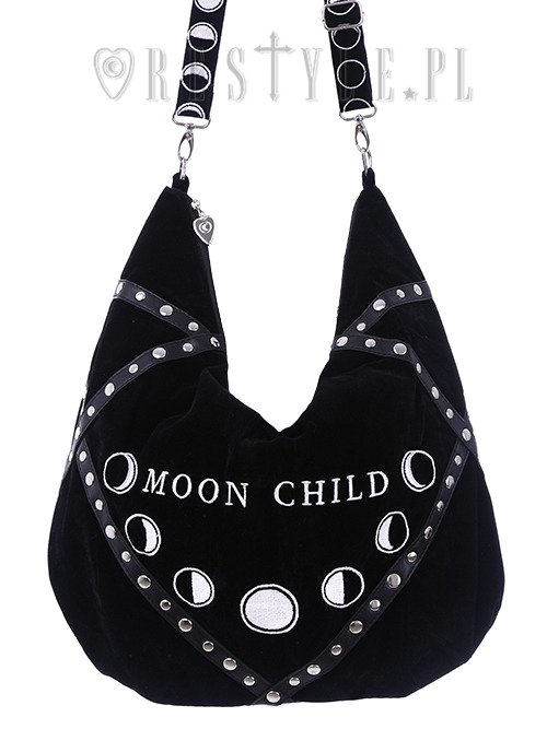 "Sack Bag  Black velvet hobo bag, moon phases embroidery ""MOON CHILD"""