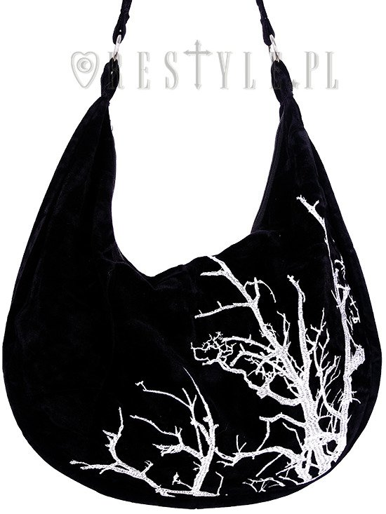 "Sack Bag ""WHITE BRANCHES"" Black velvet hobo bag, Tree embroidery"