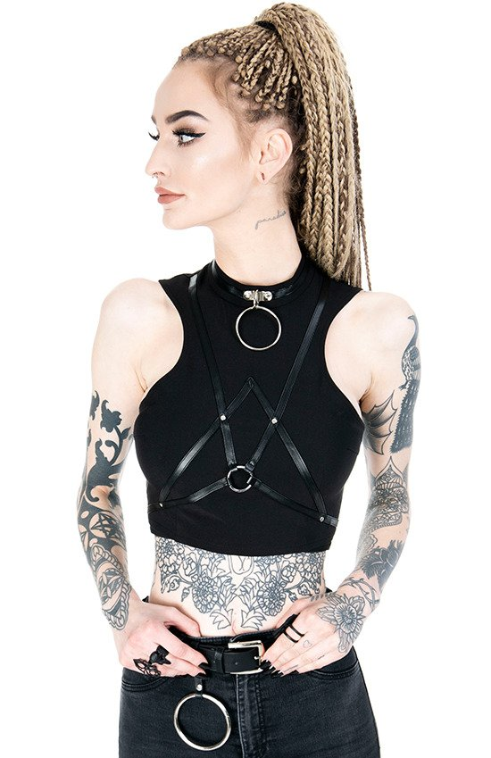 "Short gothic ""VILLAIN TOP"" harness blouse"
