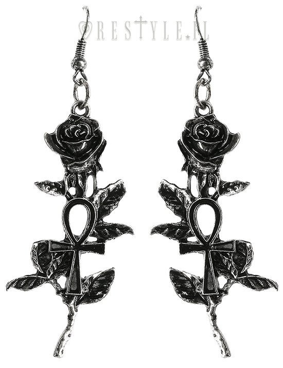 Silver gothic earrings ankh roses
