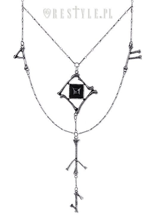"Silver long chain, Black onyx, gothic pendan""RUNES & BONES necklace"""
