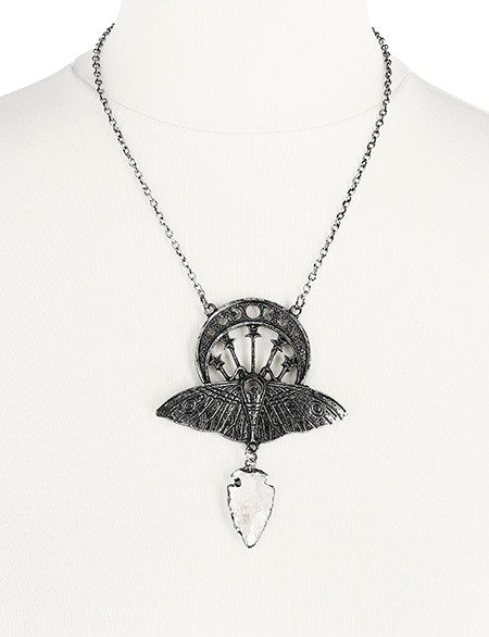 CRYSTAL MOON MOTH SILVER NECKLACE