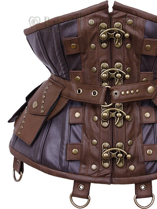 "Steampunk underbust corset with pockets, swing hooks, hourglass ""CU1 Utility Underbust"""