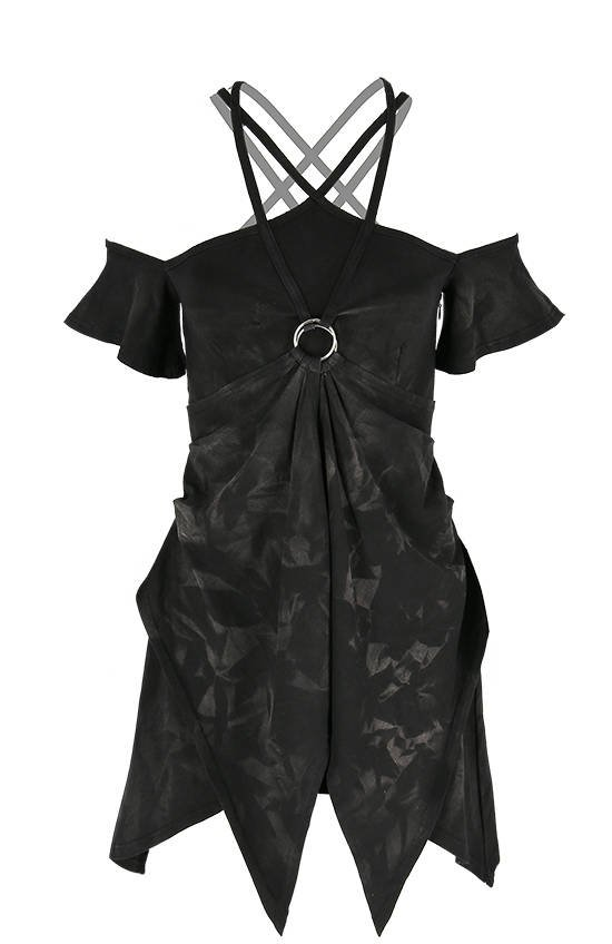 Strappy Pentagram Acid Wash Tunic Elvish Dress