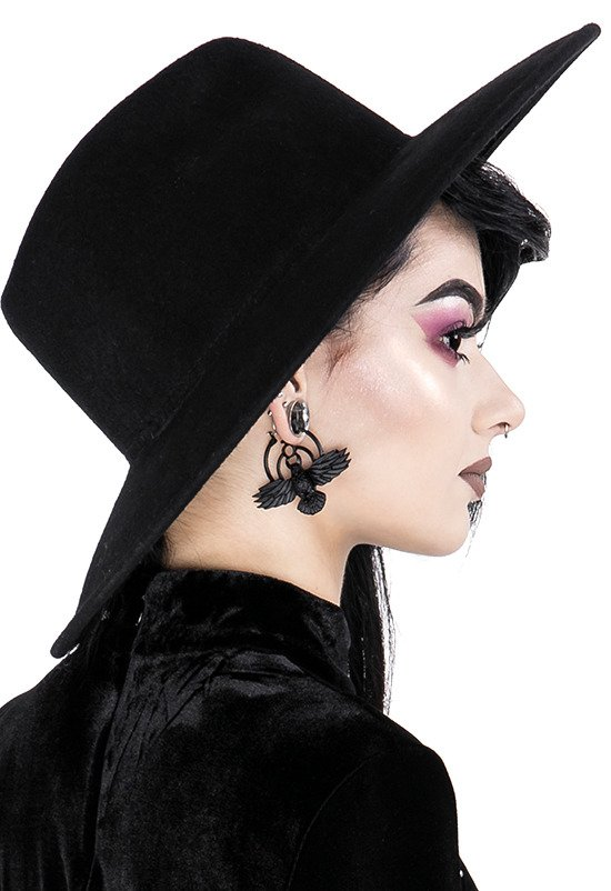 THE CROW EARRINGS Raven pagan hoops