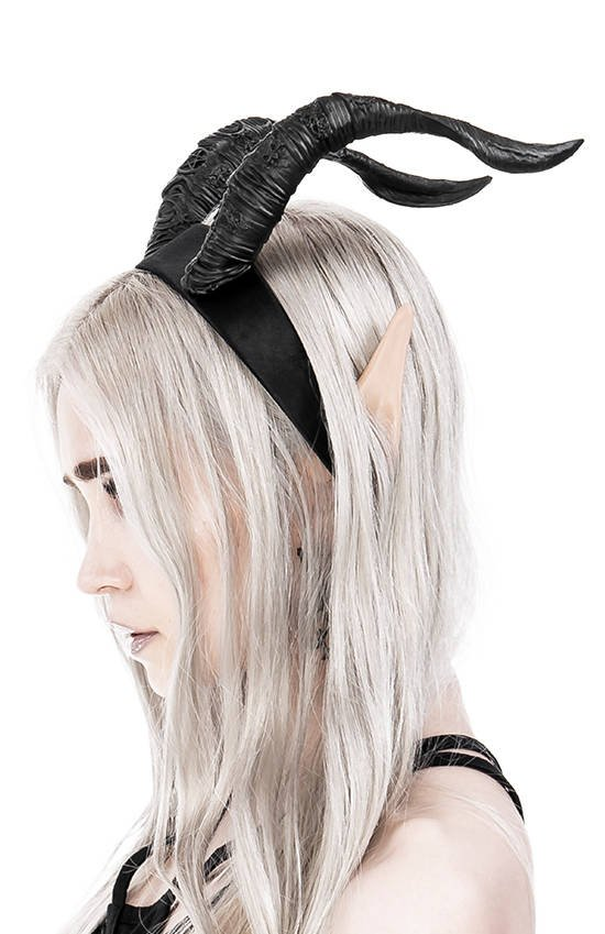 TIEFLING HORNS black, gothic headband with the goat horns