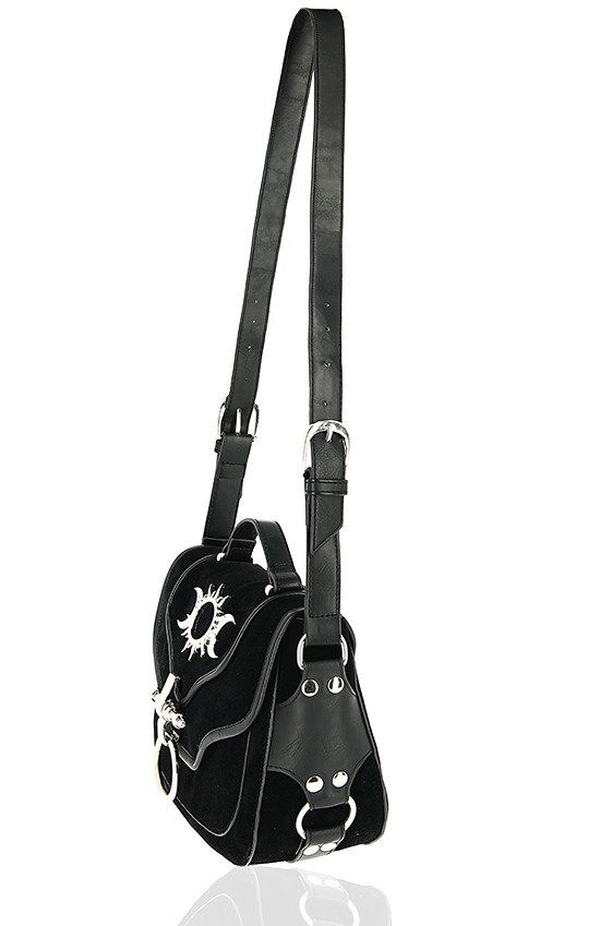 TRIPLE GODDESS BAG Gothic handbag with crescent moons and sun
