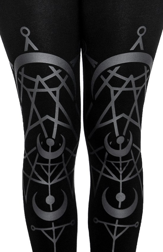 TWIN MOON Gothic LEGGINGS with moon print