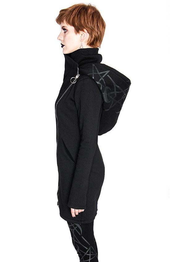 TWIN MOON HOODIE black gothic double zipped jacket with print
