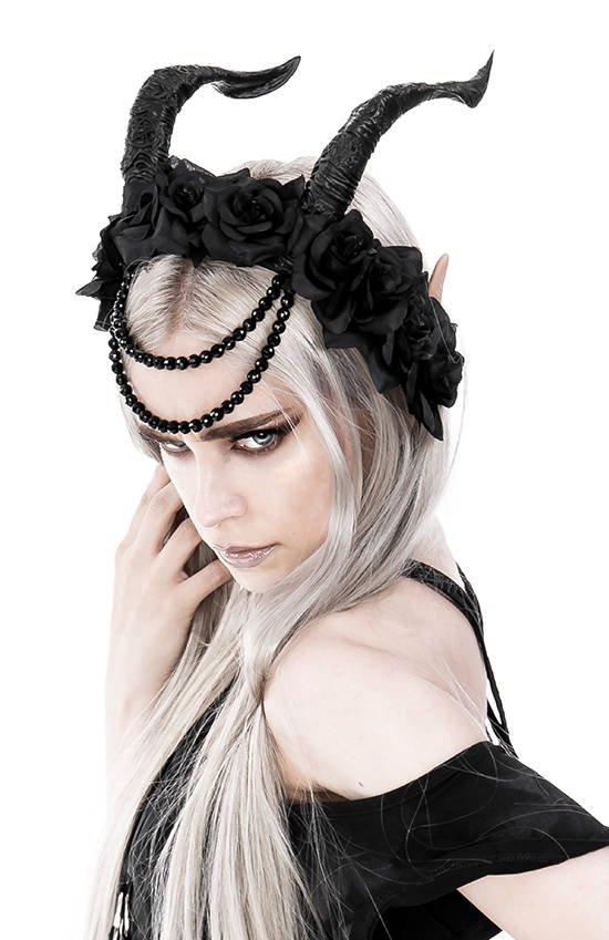 Tiefling Rose Crown with Beads Gothic headpiece