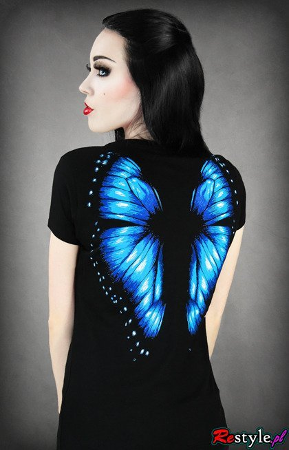 V-neck T-shirt blue butterfly wings on the back