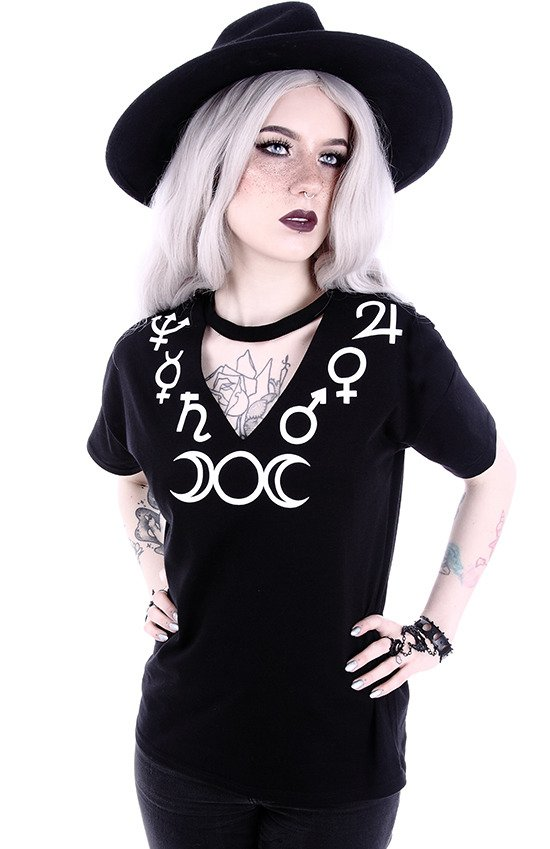 "V-neck with choker Gothic blouse with Moon ""SYMBOLS"""
