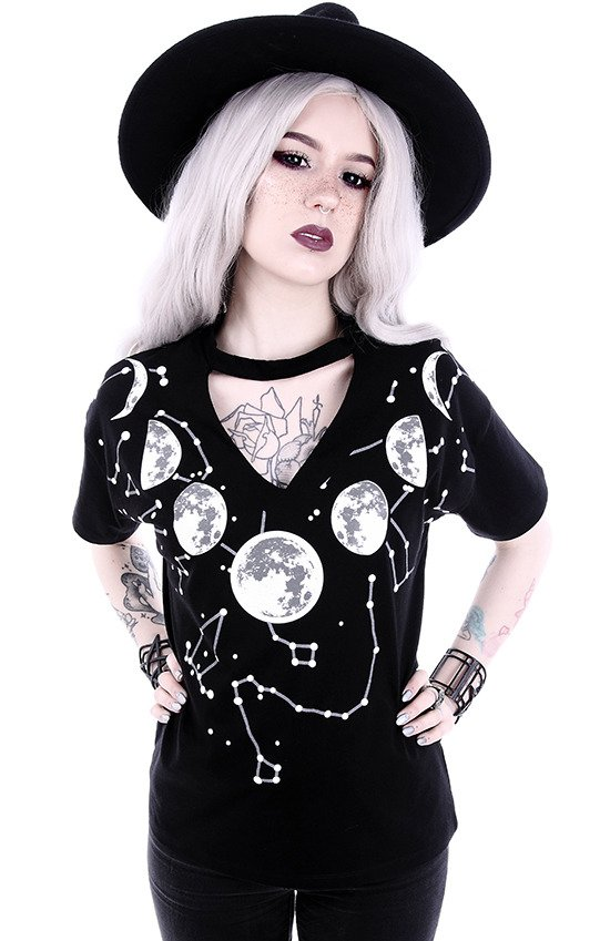 "V-neck with choker ""MOON PHASES"" Gothic blouse with constellation"