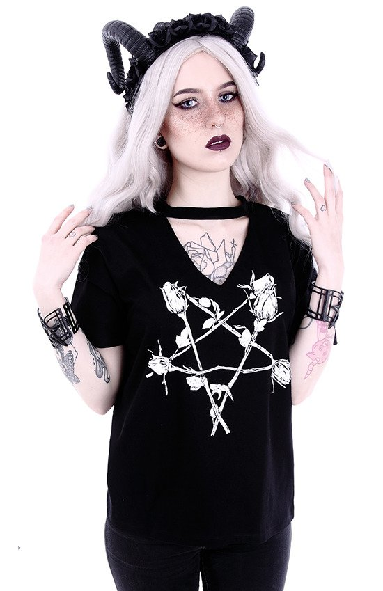 "Gothic blouse, witchy V-neck with choker ""ROSE PENTAGRAM"""