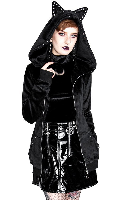 VELVET LUNA CAT HOODIE Long, Gothic jacket with hood with cat ears