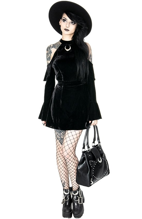 VELVET MOON DRESS Black gothic mini dress with crescent
