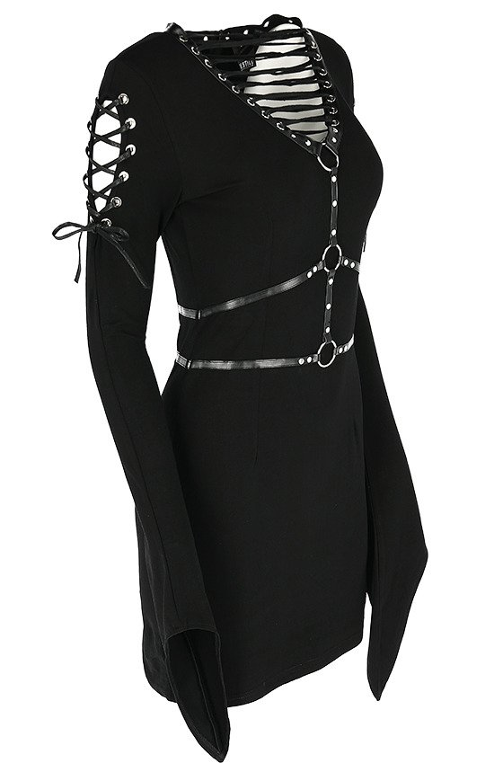 VENOM DRESS Black gothic dress with wide sleeves, harness and lacings