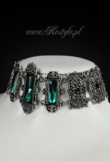 "Gothic Choker , victorian necklace, rectangle stones ""VIVIAN MINT"""