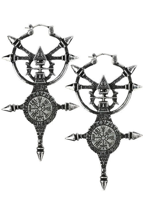 Vegvisir Earrings Silver, Pagan collection