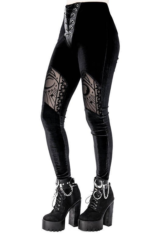 Velvet Mesh Leggings Cathedral crescent moons