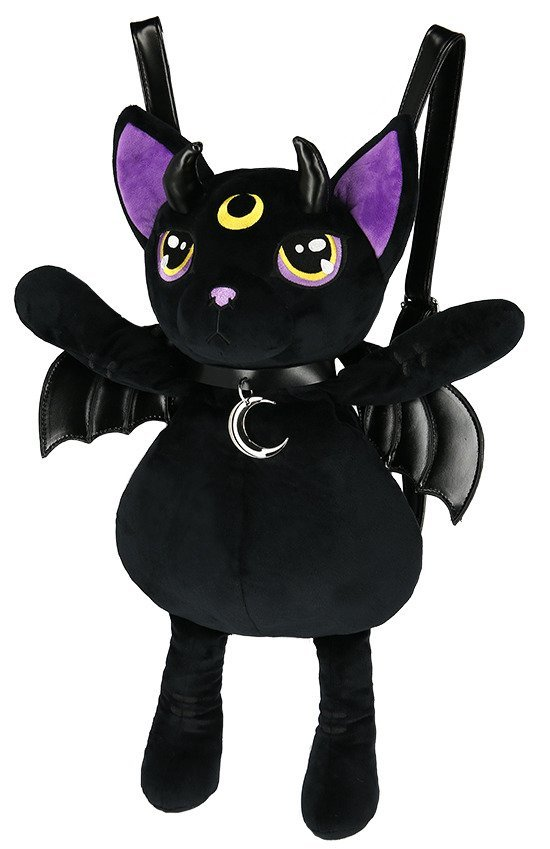 Violet Demonic Cat Mascot Gothic Backpack with moon