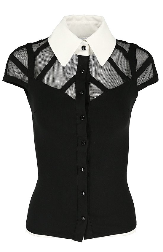 bd5299d758c5a1 WEDNESDAY SHIRT White collar gothic blouse with mesh | CLOTHES ...