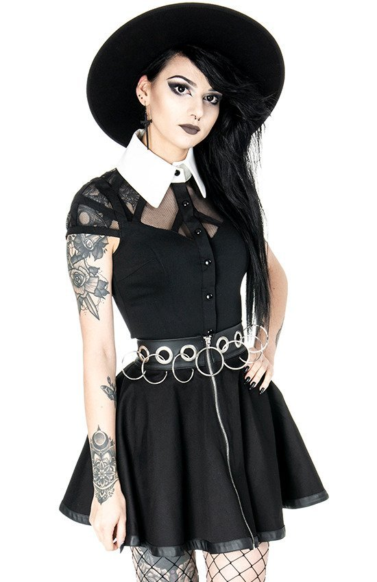 WEDNESDAY SHIRT White collar gothic blouse with mesh