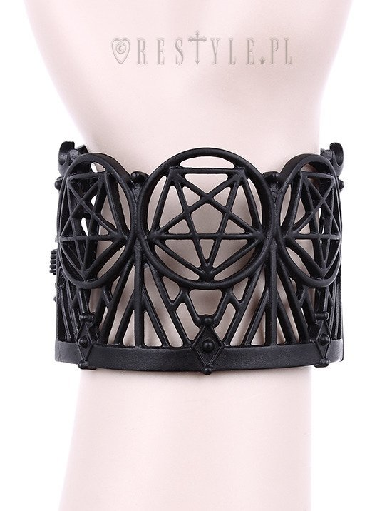 "Modern bangle, Pentagram & Crescent, black gothic cuff  ""WICKED BRACELET"""