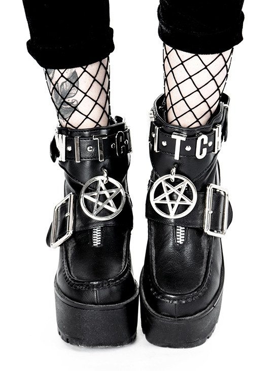 WITCH CUFFS Black gothic Pentagram Ankle bracelets for gothic shoes