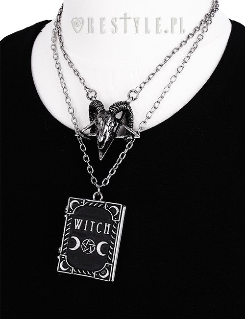 """WITCH"" Locket pendant, book shaped necklace, occult jewellery, crescent"