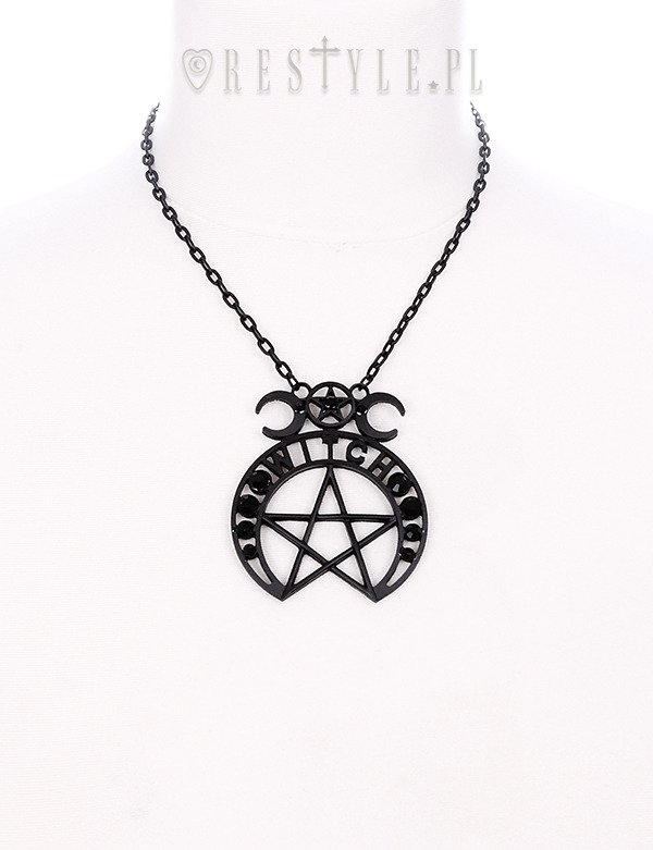 """WITCH MOON PENDANT""  black crescent necklace, pentagram, occult"