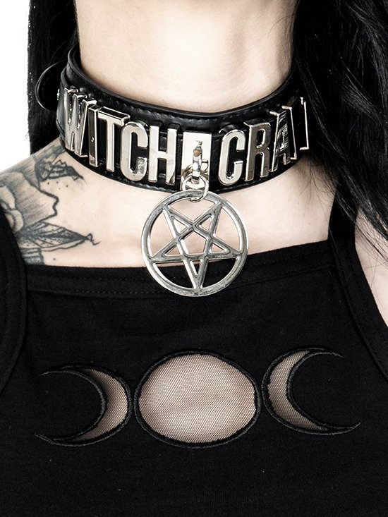 WITCHCRAFT COLLAR vegan choker with pentagram