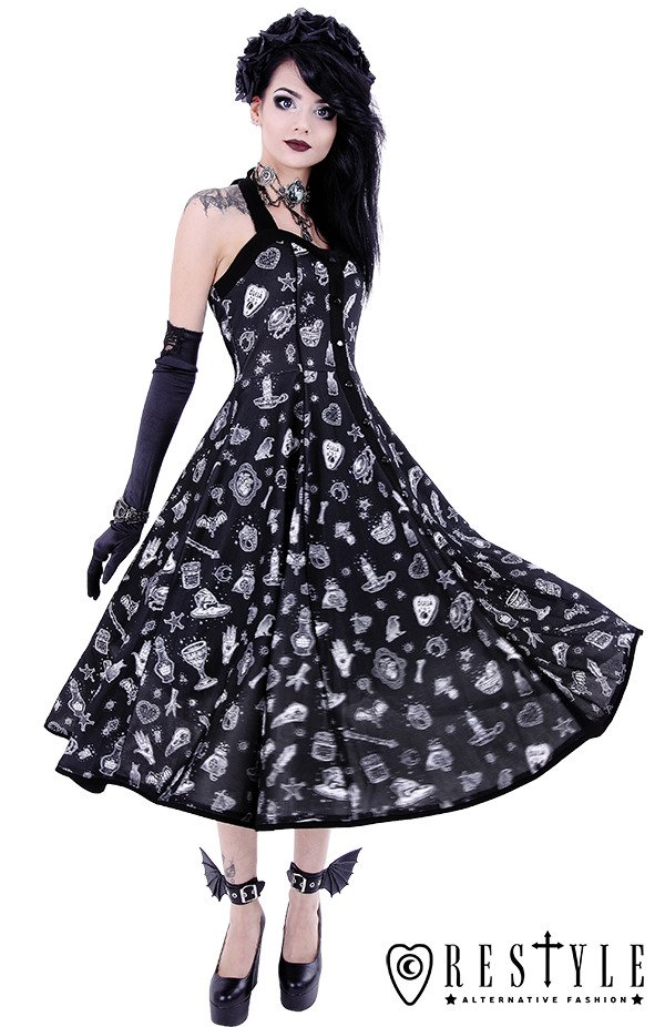 """WITCHY DRESS"" Nugoth Black dress with magic print, 50' style, retro skirt"
