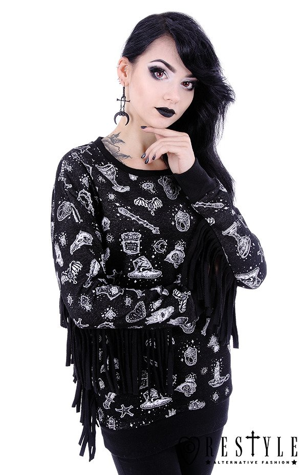 "Black hoodie with fringe, Magic print nugoth blouse""WITCHY JUMPER"""