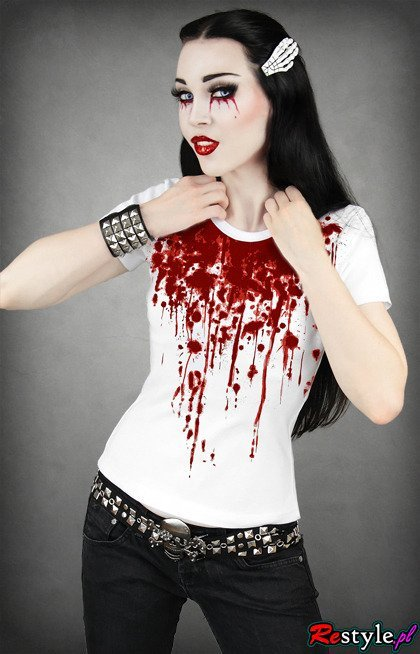 White Bloody woman t-shirt splash of blood