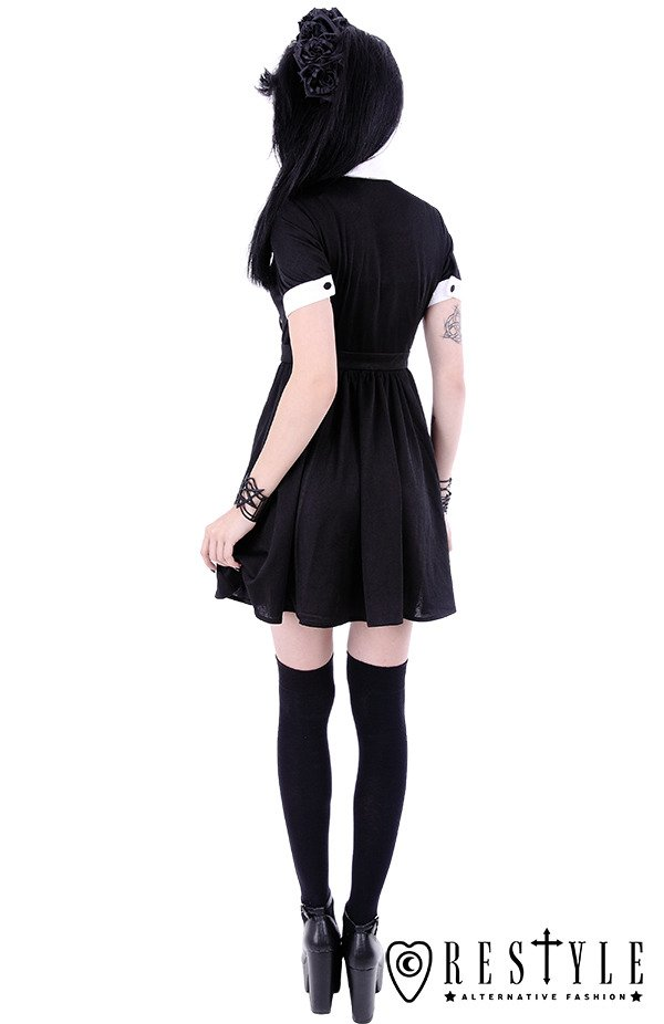 "White collar with moon symbol, circle, gothic dress ""MOON DRESS"""