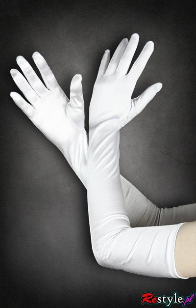 White evening gloves very long