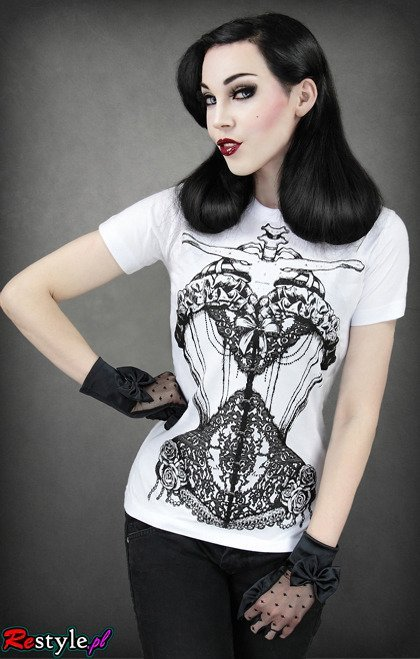 White t-shirt with decorative lace corset skeleton