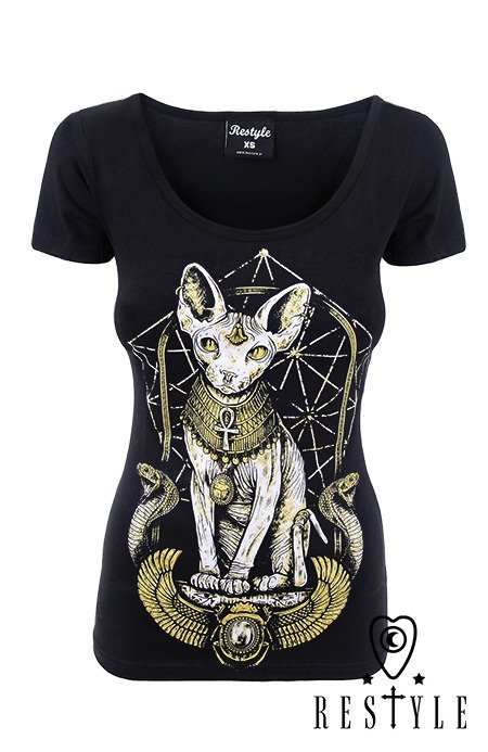 "black t-shirt  Occult, gothic blouse ""EGYPTIAN SPHINX"""