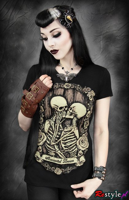black t-shirt skeletons in love romantic t-shirt IMMORTAL LOVERS
