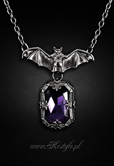 "gothic pendant bat with purple stone ""NIGHT WHISPER"""