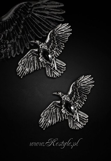 "hairclips, pair of gothic crows hair pins ""BLACK DIAMOND RAVENS"""