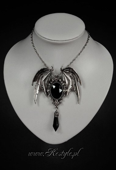 "pendant and brooch in one ""DELLA MORTE - BLACK"" bat necklace"