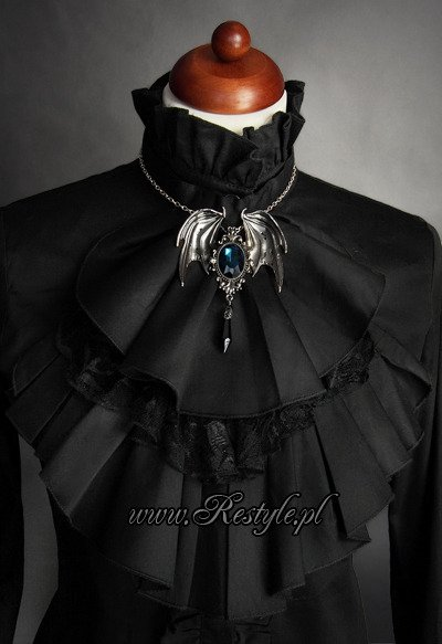 "pendant and brooch in one bat necklace  ""DELLA MORTE - CYAN"""