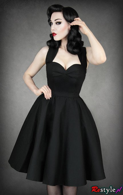 Pin Up 50 Black Dress Heart Neckline Elegant Retro Style
