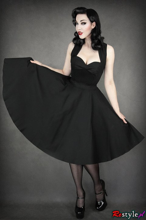 pin up 50'' BLACK DRESS heart neckline, elegant, retro style