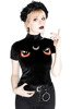 Black Velvet Cat Top with embroidery I SEE YOU